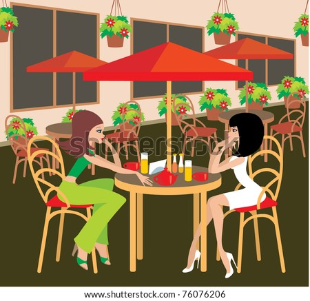 Two young woman in cafe. Vector illustration, no gradient
