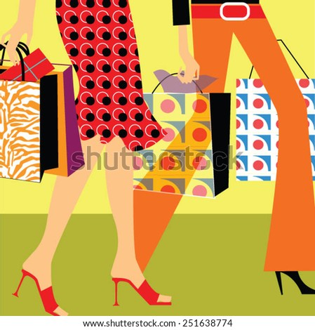 Two young woman shopping - stock vector