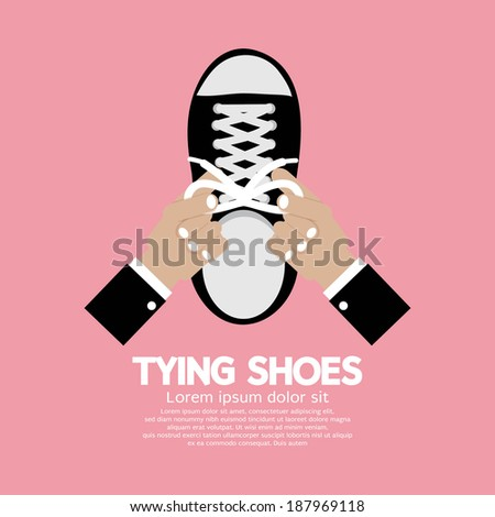 Tying Shoes Vector Illustration - stock vector