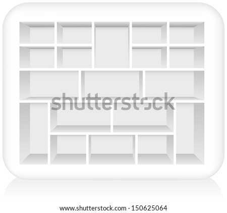 Type Case - Empty white type case to be filled. Isolated vector on white background.