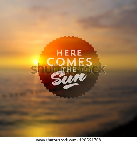 Type vector design - summers greeting sign against a sea sunset defocused background - stock vector