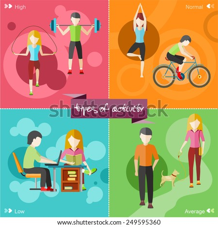 Types of activity. High, normal, low and average active. Healthy lifestyles daily routine tips stick figure in flat design style on four multicolor banners - stock vector