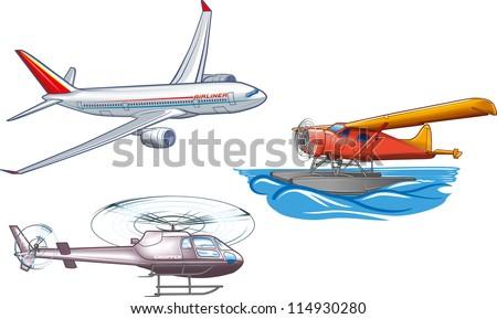 Types of air transportation. - stock vector