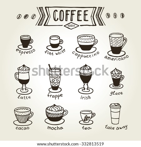 Types coffee chalk on black board stock vector 332813519 types of coffee chalk on black board icon and logotype design for coffee shop malvernweather Image collections