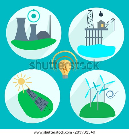 Types of energy production Nuclear power plant, wind turbines, solar panels, oil. Icons into flat style. Vector illustration - stock vector