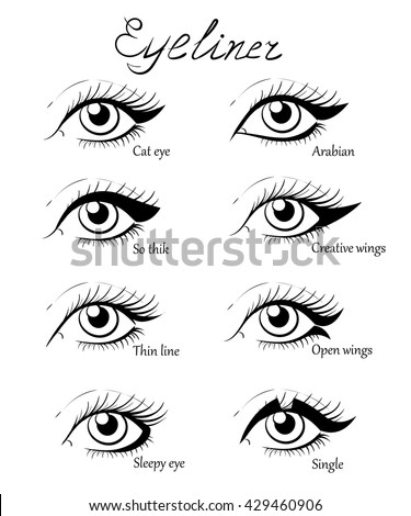 types eye makeup cat eyeliner tutorial stock vector