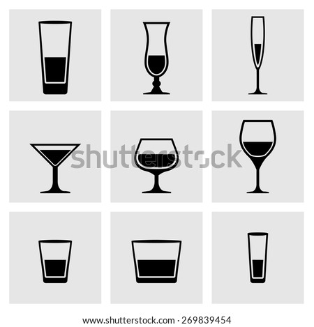 Types of glass, dishes. Set of black icons glass, glass, dishes. Silhouettes of glass. - stock vector
