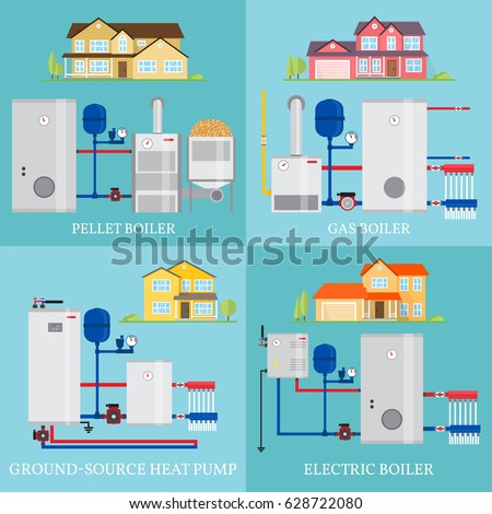 Sivvector 39 s portfolio on shutterstock for Types of gas heating systems