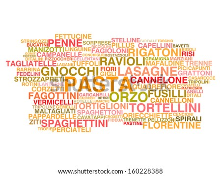 Types of Italian pasta. Word cloud concept - stock vector