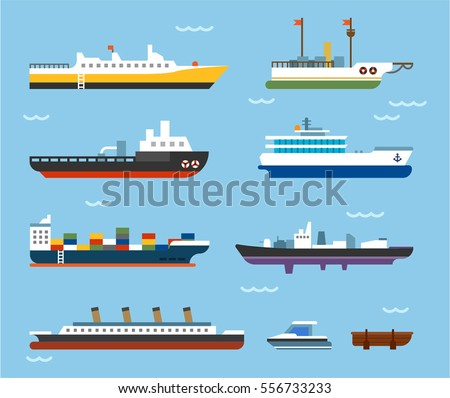Types Large Vessels On Sea Big Stock Vector Royalty Free