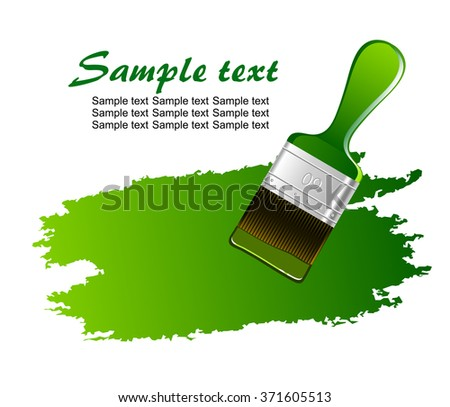 Types Paint Brush Green Paint Stain Stock Vector 371605513