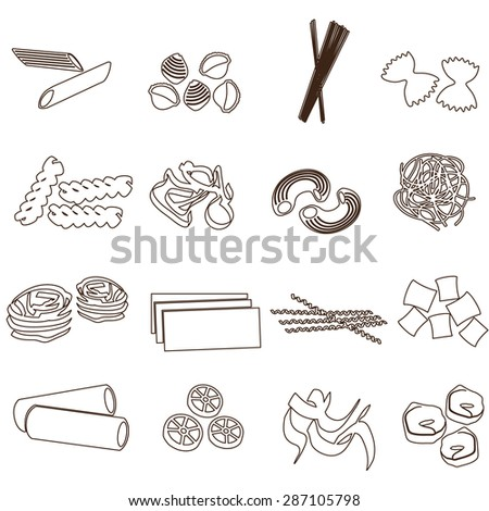 types of pasta food outline icons set eps10 - stock vector