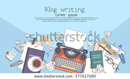Typewriter Author Writer Workplace Desk Top Angle View Copy Space Vector Illustration