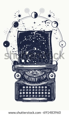 Typewriter tattoo. Symbol of imagination, literature, philosophy, psychology, imagination. Antique typewriter with paper prints Universe, surreal t-shirt design
