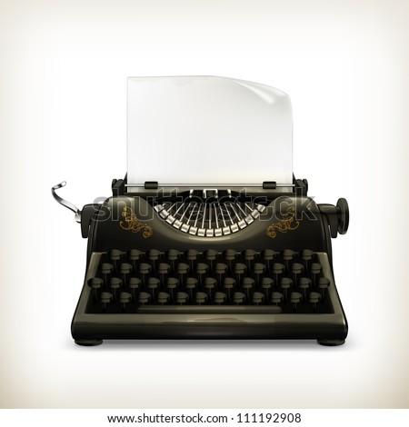Typewriter, vector - stock vector