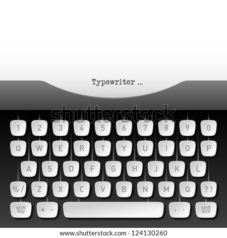 Typewriter. Vector. - stock vector