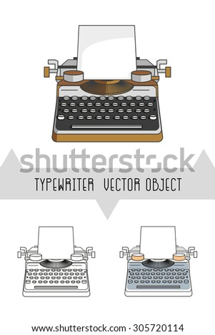 Typewriter vector objects. Flat design icons.