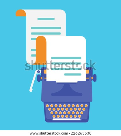 Typewriter with sheet of paper. View top. Vector flatstyle - vector illustration - stock vector