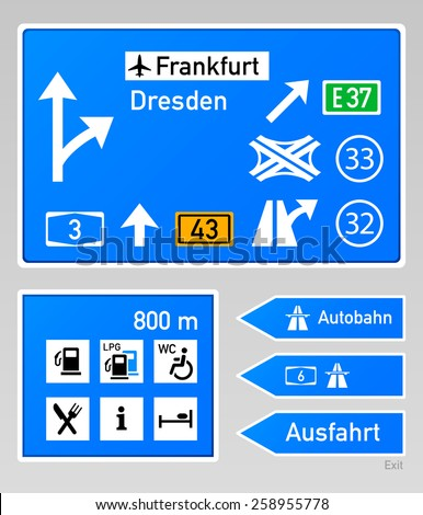 Typical autobahn signs in Germany - stock vector