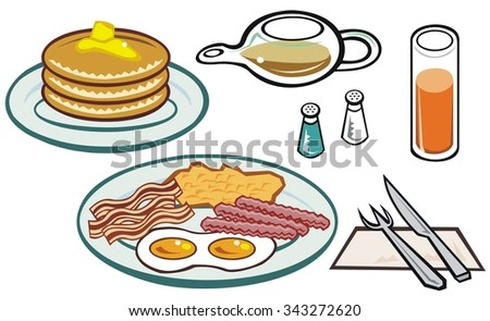 Typical big American breakfast, with orange juice and maple syrup - stock vector