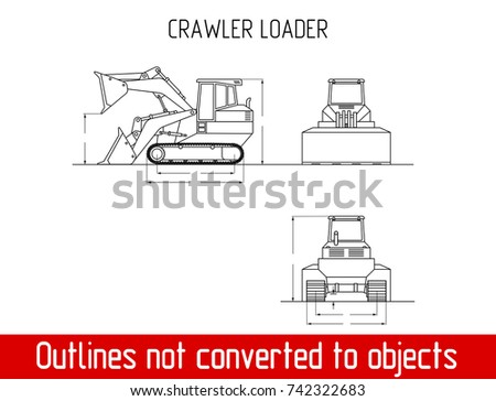 Typical crawler loader overall dimensions blueprint vector de typical crawler loader overall dimensions blueprint template illustration malvernweather Choice Image