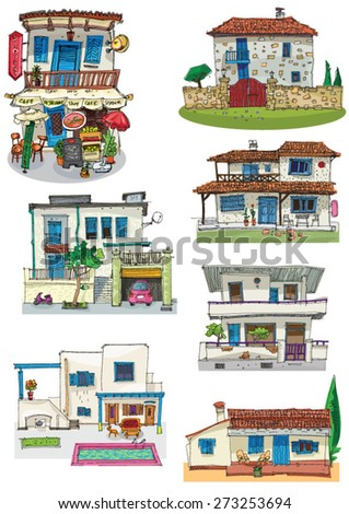 typical mediterranean architecture - set - cartoon - stock vector