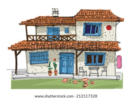 typical mediterranean facades - cartoon - handmade style