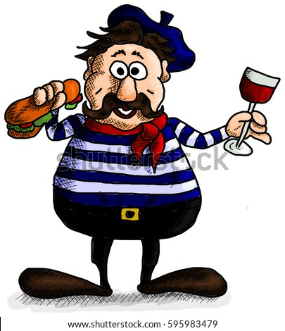 typical smiling french man wine baguette stock vector