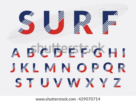 Typographic alphabet design set - Colorful lettering with abstract lines