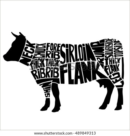 Typographic Beef Butcher Cuts Diagram Hand Stock Vector 489849313