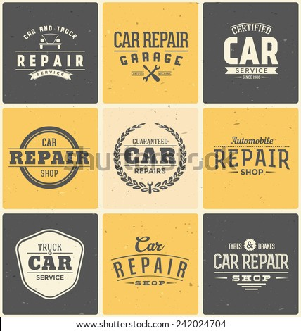 Typographic Car Service Label Design Set - Vintage Garage Emblems - stock vector
