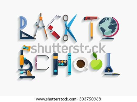 Typographic composition - back to school. Flat design. - stock vector
