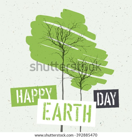 Typographic design for Earth Day. Concept Poster With Green Leaves. Vector Template. On recycled paper texture - stock vector