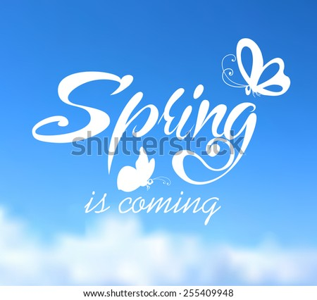 Typographic Design. Lettering Spring design on blurred background with butterflies. - stock vector