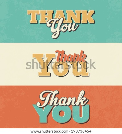 Typographic Design Set - Thank You - stock vector