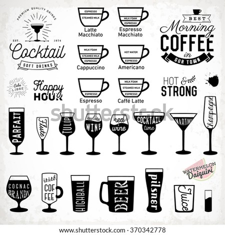 Typographic Drink Icon Silhouettes Set. Coffee and Cocktails. - stock vector
