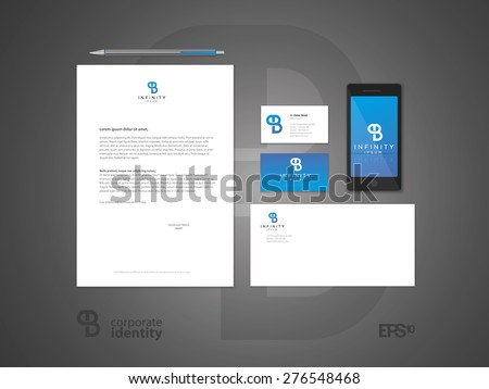 Typographic PB logo. Elegant minimal style corporate identity template. Letter envelope and business card design. Vector illustration. - stock vector