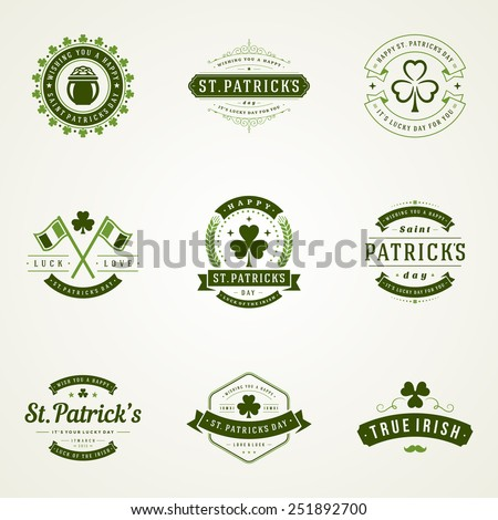 Typographic Saint Patrick's Day Retro Badges. Vintage Vector design elements, labels, t-shirts, posters, greetings cards and objects.  - stock vector