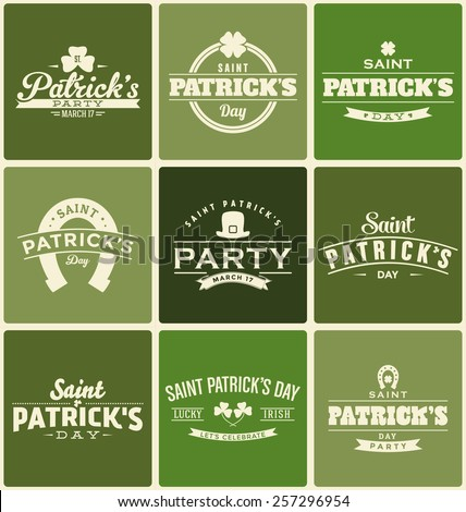 Typographic Saint Patrick's Day Themed Label Design Set - stock vector