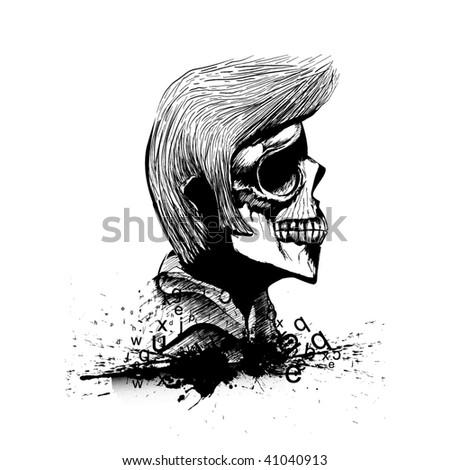 Typographic Skull - stock vector