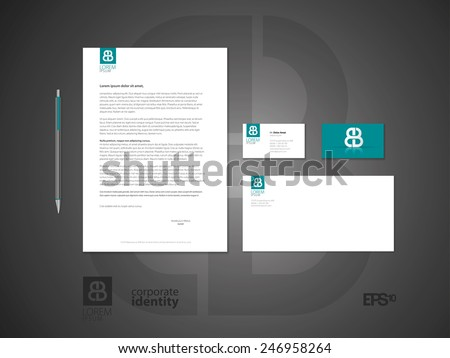 Typographic symbol. Elegant minimal style corporate identity template with logo. Letter envelope and business card design. Vector illustration. - stock vector