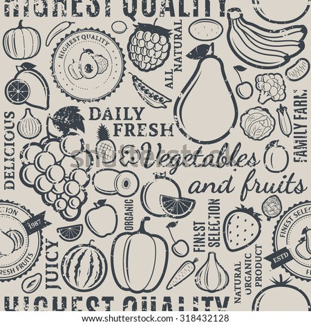 Typographic vector fruits and vegetables retro styled grungy seamless pattern or background. Fruits and vegetables design elements and icons for web, stores, package and advertising - stock vector