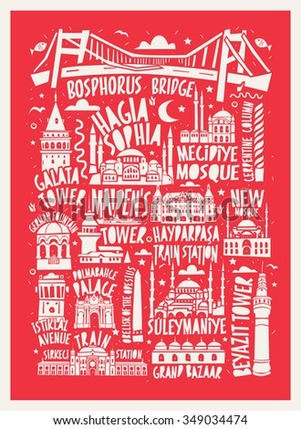 typographic vector istanbul city poster - stock vector