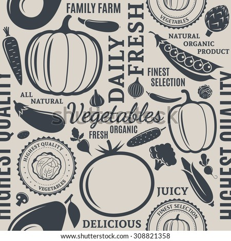 Typographic vector vegetables seamless pattern or background. Vegetables design elements and icons for web, stores, package and other - stock vector