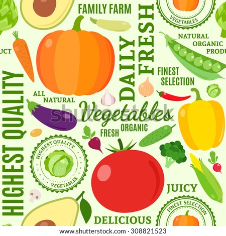 Typographic vector vegetables seamless pattern or background. Vegetables design elements and icons for web, stores, package and other