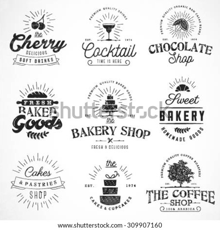 Typographical Bakery, Coffee, Chocolate and Drinks Labels, Badges and Design Elements in Vintage Style - stock vector