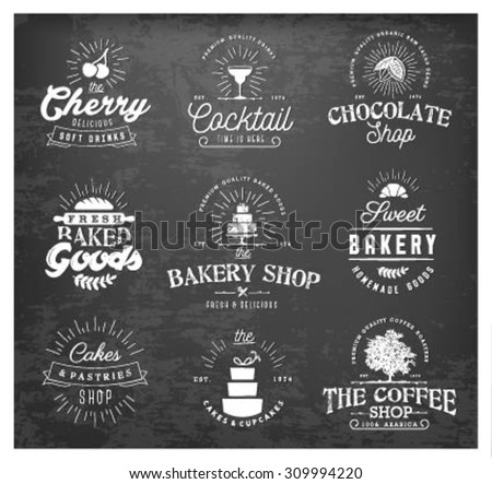 Typographical Bakery, Coffee, Chocolate and Drinks Labels, Badges and Design Elements in Vintage Style on Chalkboard - stock vector