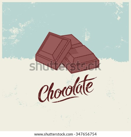 Typographical calligraphic vintage Chocolate poster design. Vector illustration. - stock vector