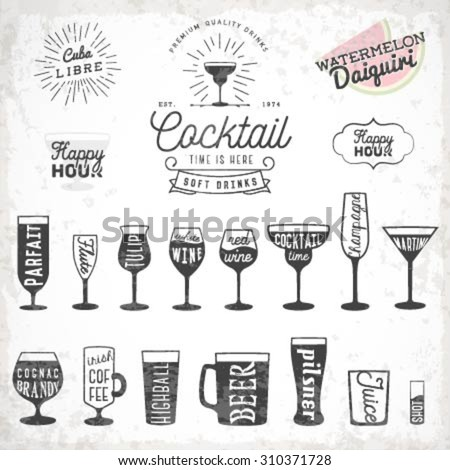 Typographical Drinks Glass Illustrations, Cocktails and Shots - stock vector