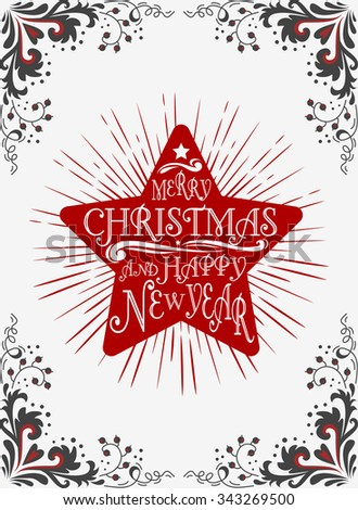 Typographical greeting card. Merry Christmas/Happy new year. Lettering. Can be used as a print  for posters and invitations. Vintage. Hand drawn/Element for design - stock vector